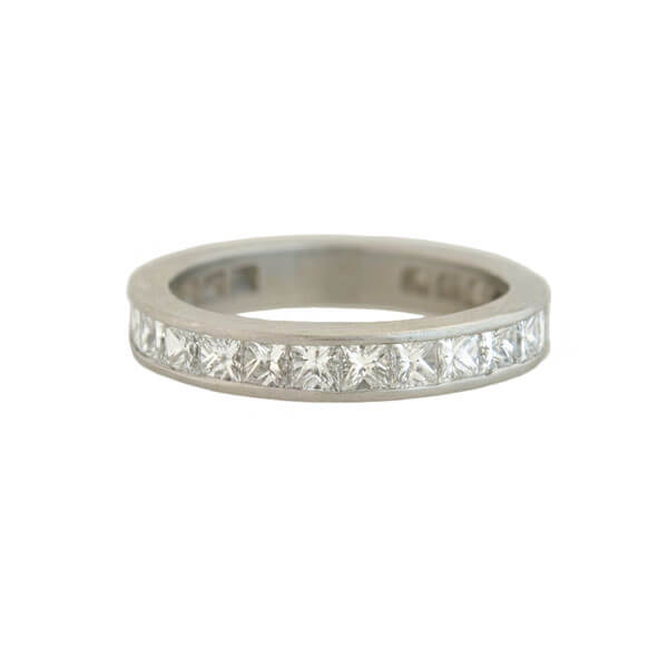 Estate Platinum Princess Cut Diamond Half Eternity Band 1.75ctw