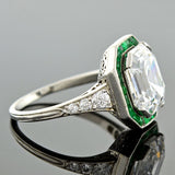 Art Deco Platinum Colorless Emerald Cut Diamond & Emerald Ring 3.63ct