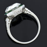 Art Deco Platinum Colorless Asscher Cut Diamond & Emerald Ring 3.63ct