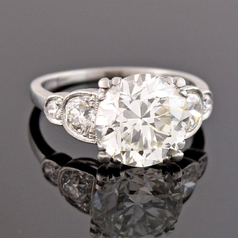 Art Deco Platinum Diamond Engagement Ring 3.63ct
