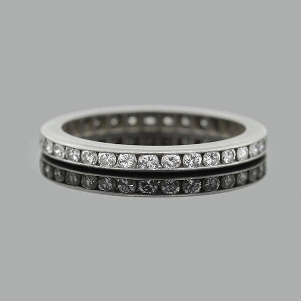 Art Deco Platinum & Full Cut Diamond Eternity Band