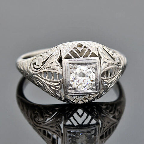 Art Deco Platinum/18kt Diamond Engagement Ring 0.35ct