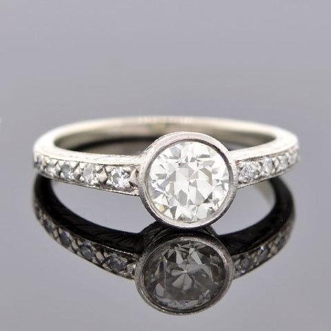 Art Deco Platinum & Diamond Engagement Ring 0.92ct