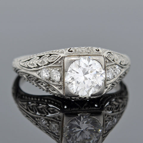 Art Deco Platinum & Diamond Engagement Ring .88ct