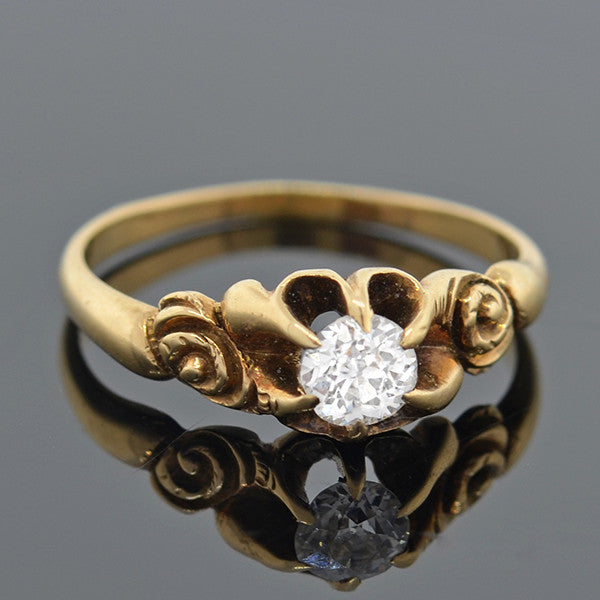 Victorian 14kt Old Mine Cut Diamond Engagement Ring