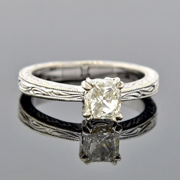 Estate 14kt Radiant Cut Diamond Engagement Ring 1.06ct