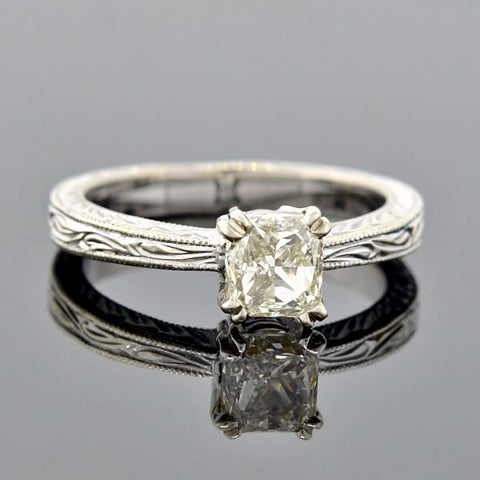 Estate 14kt Fancy Emerald Cut Diamond Engage Ring 1.06ct