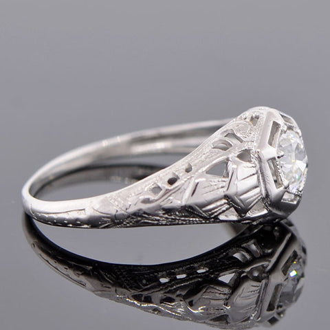Art Deco 14kt Diamond Engagement Ring .26ct
