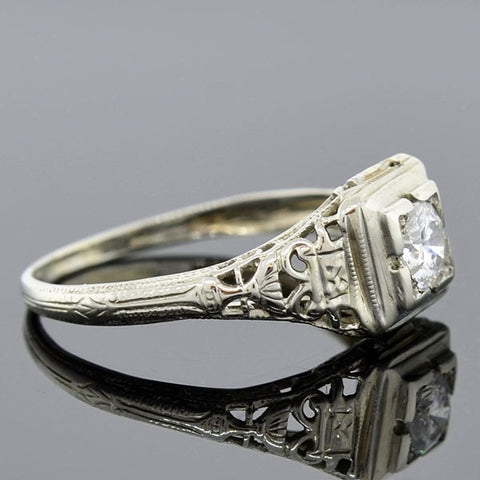 Art Deco 18kt Filigree Diamond Engagement Ring 0.30ct