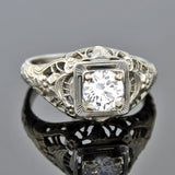 Art Deco 18kt Floral Motif Diamond Engagement Ring 0.55ct