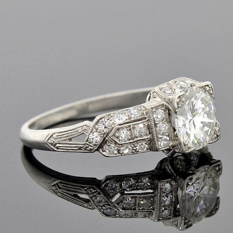 Art Deco Platinum Diamond Engage Ring 1.05ct