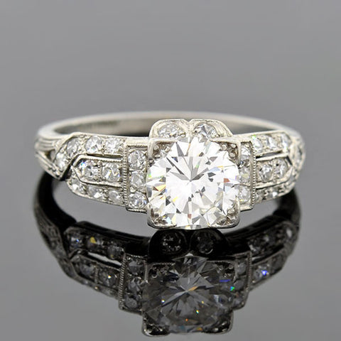 Art Deco Platinum Diamond Engagement Ring 1.07ct