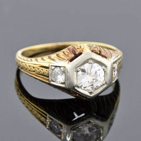 Edwardian Mixed Metals Diamond Engage Ring 0.50ctw