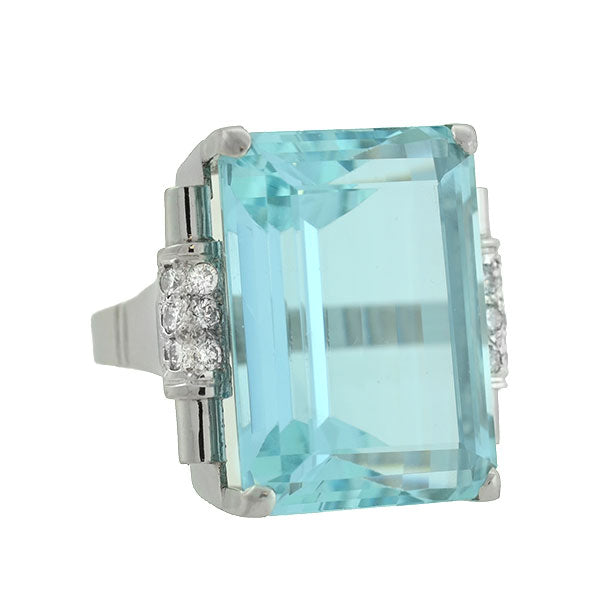 Retro Platinum 33ct Aquamarine Diamond Cocktail Ring