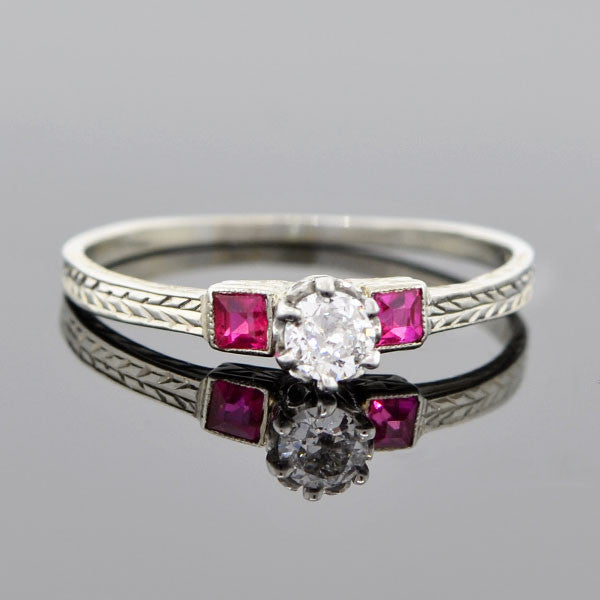 Art Deco 18kt Diamond & Ruby Engagement Ring 0.22ct