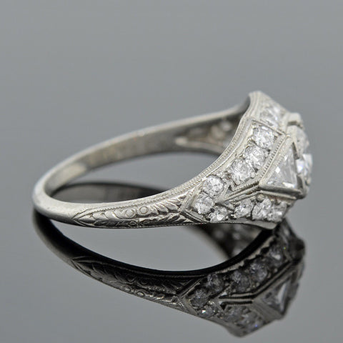 Art Deco Platinum & Diamond Engagement Ring .43ct