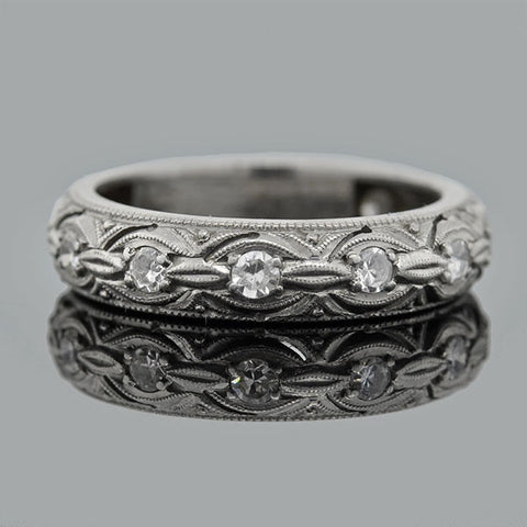 Late Art Deco Platinum Diamond Eternity Band