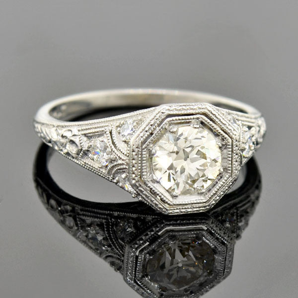 Art Deco Platinum Diamond Engagement Ring 1.05ct