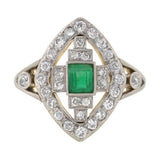 Edwardian Platinum Topped 18kt Emerald & Diamond Ring