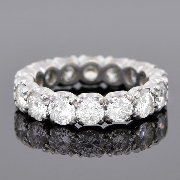 Retro Platinum & Diamond Eternity Band Ring 3.20ctw