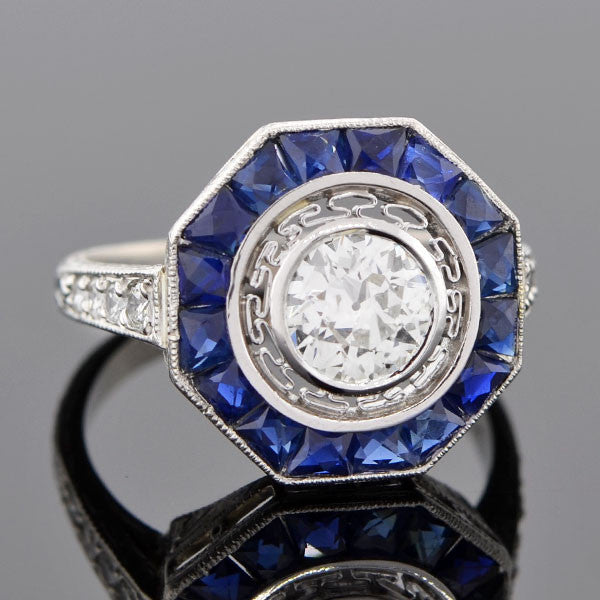 Edwardian Platinum Diamond & Sapphire Engage Ring 0.95ct