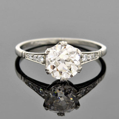 Art Deco Platinum Diamond Engagement Ring 1.55ct