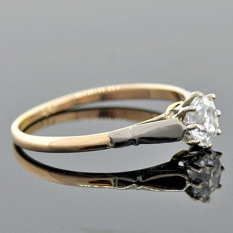Edwardian Mixed Metals Diamond Solitaire Engagement Ring .50ct