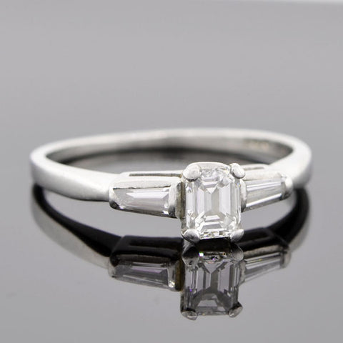 Vintage Platinum & Emerald Cut Diamond Ring 0.42ct