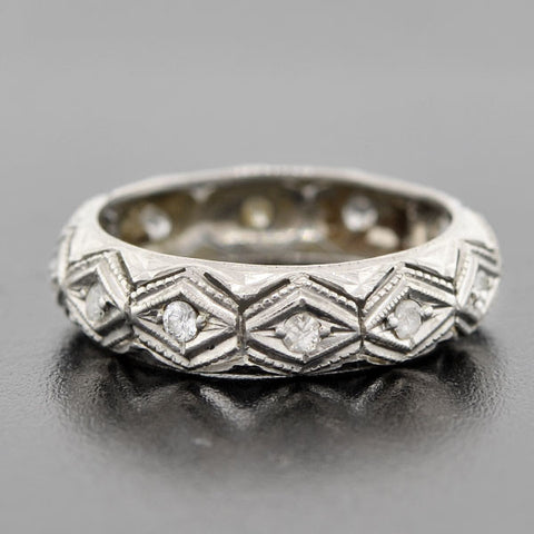 Late Art Deco Platinum & Diamond Eternity Band 0.45ct
