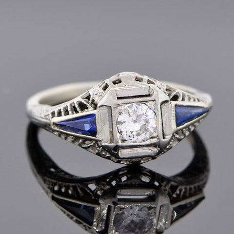 Art Deco Platinum Diamond & Sapphire Engage Ring 0.20ct