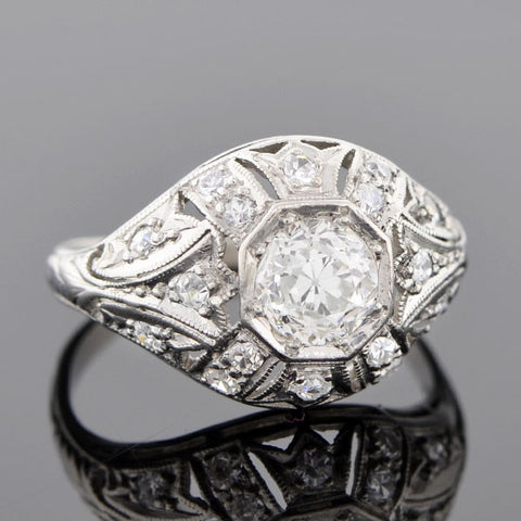 Art Deco Platinum & Diamond Engagement Ring .55ct