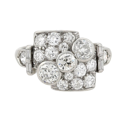 Retro Platinum Asymmetrical Diamond Encrusted Ring 1.83ctw