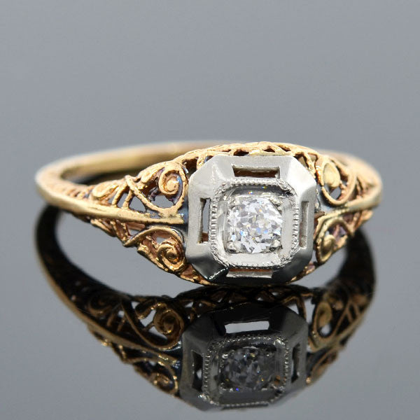Edwardian 10kt Mixed Metals Diamond Engage Ring 0.15ct