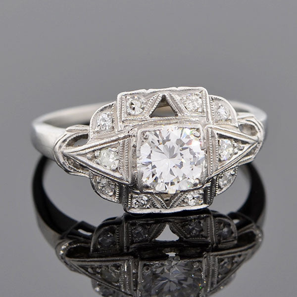 Art Deco Platinum & Diamond Engagement Ring 0.63ct