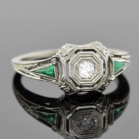 Art Deco 14kt Diamond & Emerald Engagement Ring 0.17ct