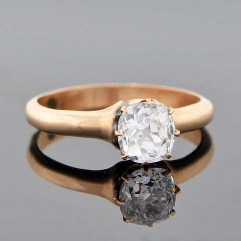 Victorian 14kt Gold Diamond Engagement Ring 0.88ct