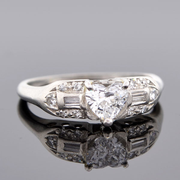 Retro Platinum & Heart Shaped Diamond Engagement Ring 0.50ct