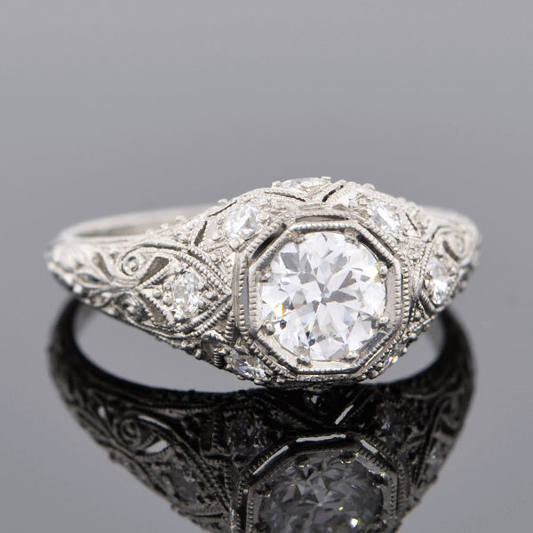Edwardian Platinum Diamond Engagement Ring 0.73ct