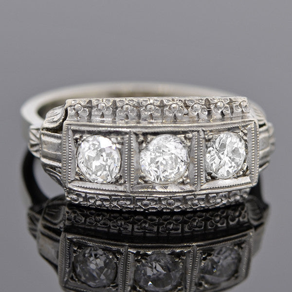 Edwardian 14kt 3-Stone Diamond Ring 0.60ctw
