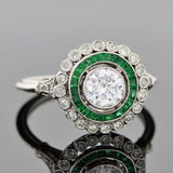 Art Deco Style Platinum Diamond & Emerald Engage Ring 0.71ct