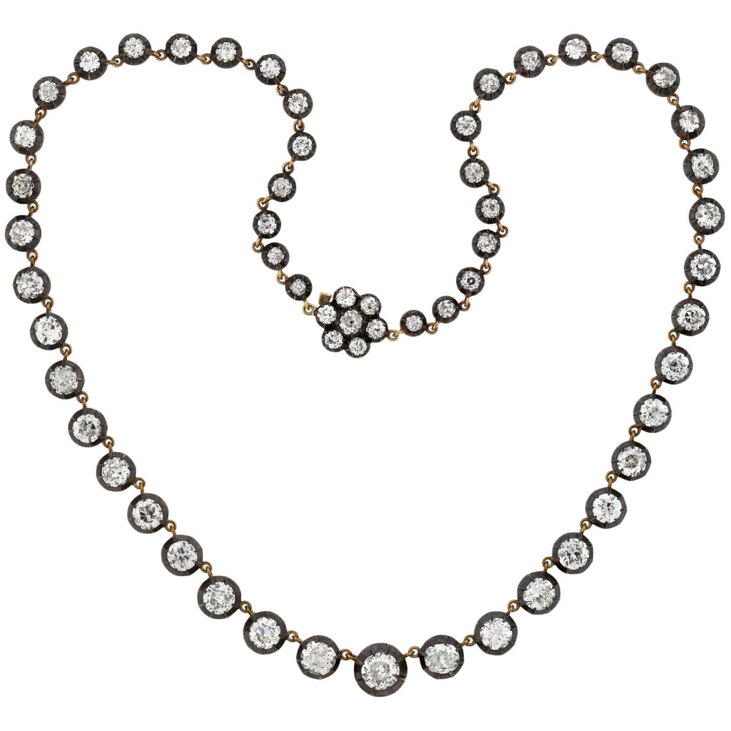 Victorian Style 18kt/Sterling Diamond Riviera Necklace 17ctw