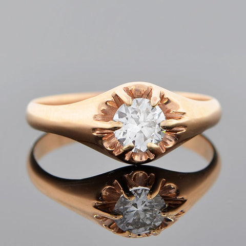 Victorian 14kt Diamond Engagement Ring 0.35ct