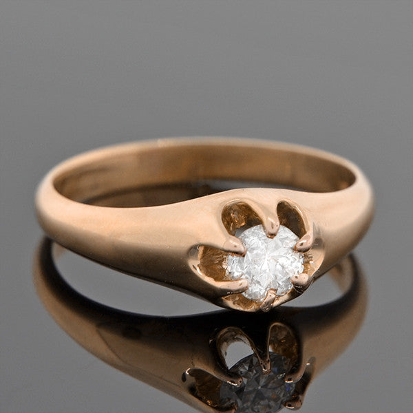 Victorian 14kt Diamond Solitaire Engagement Ring 0.49ct