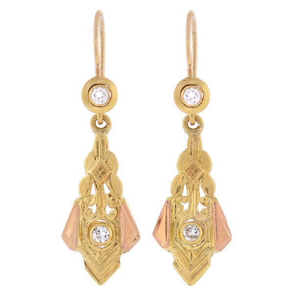 Victorian 14kt Mixed Metals Diamond Earrings