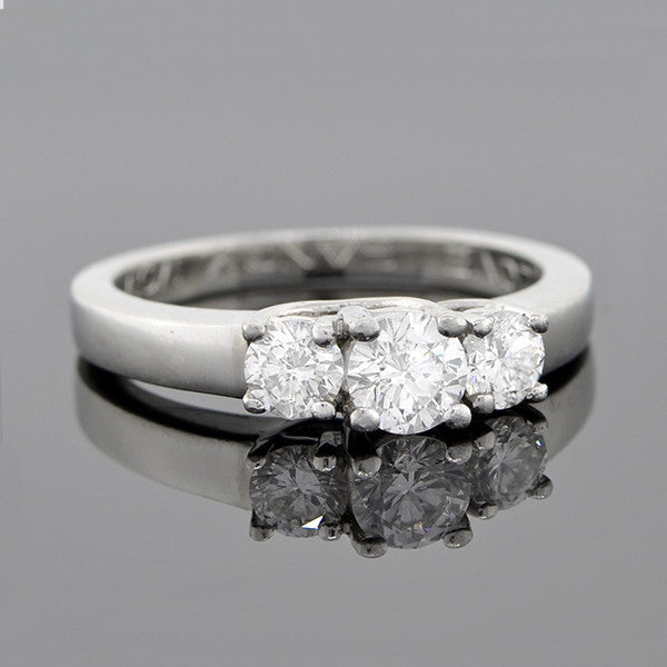 Estate Platinum 3-Stone Diamond Engagement Ring 0.73ctw
