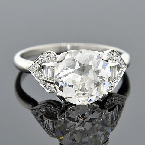 Late Art Deco Platinum Diamond Engagement Ring 2.48ct