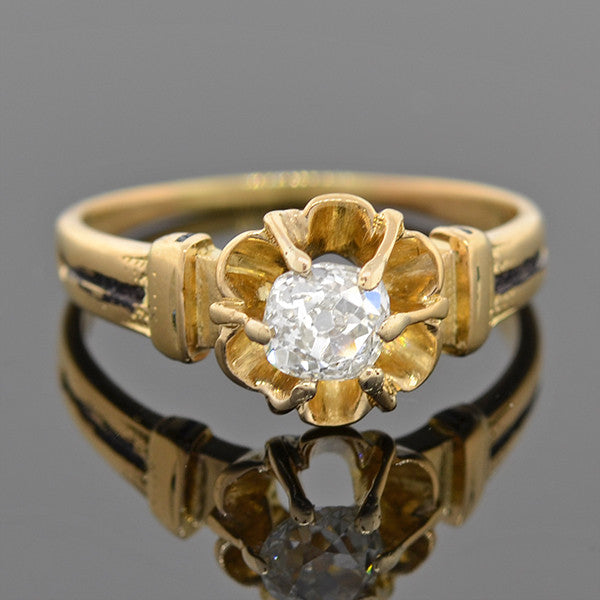 Victorian 18kt Gold & Enamel Diamond Engage Ring 0.40ct