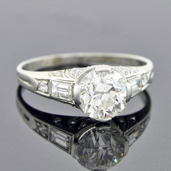 Art Deco Platinum Diamond Engagement Ring 1.50ct