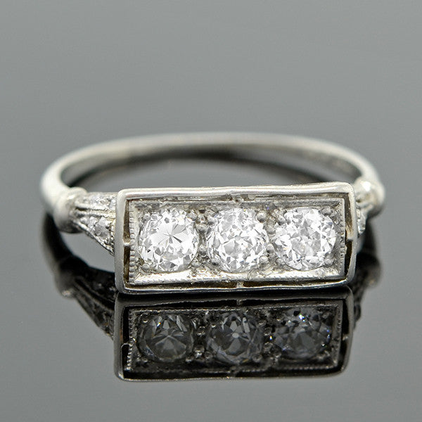 Art Deco Platinum 3 Stone Diamond Ring A Brandt Son