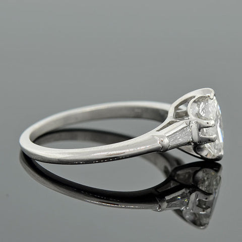 Retro Platinum Marquise Diamond Ring 0.84ct